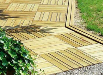 Les dalles en bois et caillebotis bois chez pierre et sol fournisseur online - Pose de dalle sur sable ou gravier ...