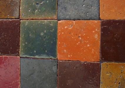 Tomette Terre Cuite Emailllee Artisanale Couleur Rouge Orange Bleue Brun Chez Pierre Et Sol Fournisseur Online