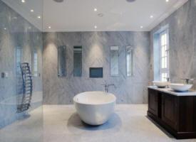 Carrelage interieur dalle marmocer en marbre carrare for Salle bain marbre blanc